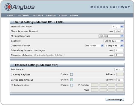 Anybus Modbus RTU to TCP Gateway